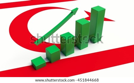 Arrow and growth bars on top of a Northern Cyprus Flag. 3D illustration.