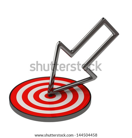 Arrow and target isolated on white background