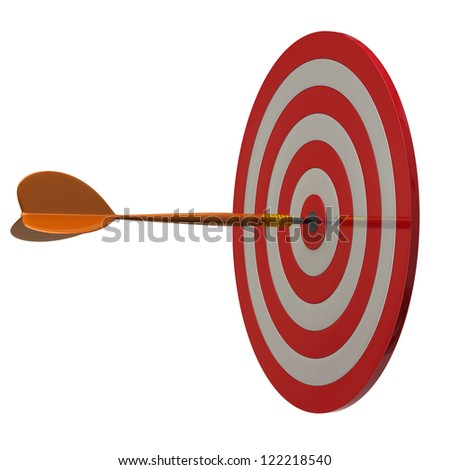 Arrow at the center of dart aim, 3d