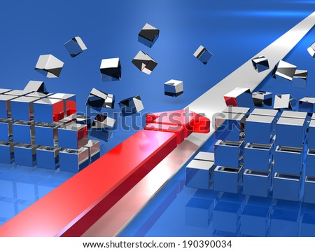 Arrow breaks down the obstacles. It expresses the innovation. - stock photo