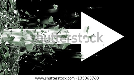 ARROW broken glass background isolated on black. High resolution 3d render - stock photo