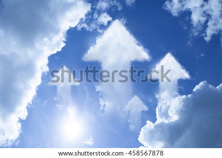 Arrow cloud shape on blue sky metaphor as keep on moving forward