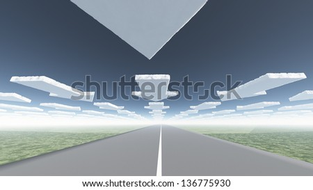 Arrow clouds and roadway - stock photo