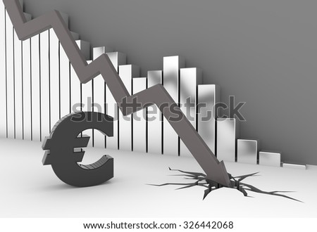 Arrow crashes to the ground - euro symbol - stock photo