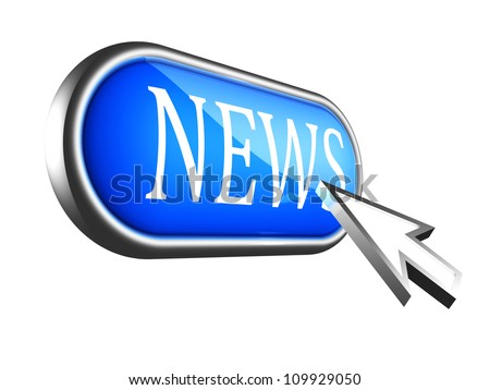 arrow cursor over blue news button on white background - stock photo