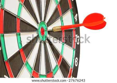 arrow darts in a center a target on white
