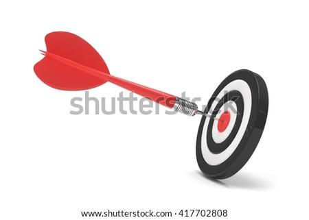 arrow darts in target. 3d rendering. - stock photo