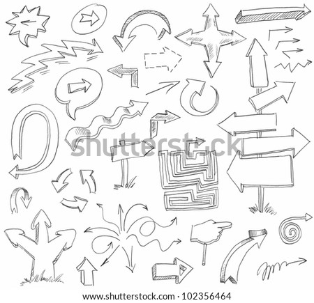 Arrow Doodles. Hand-drawn. Raster version of vector image - stock photo