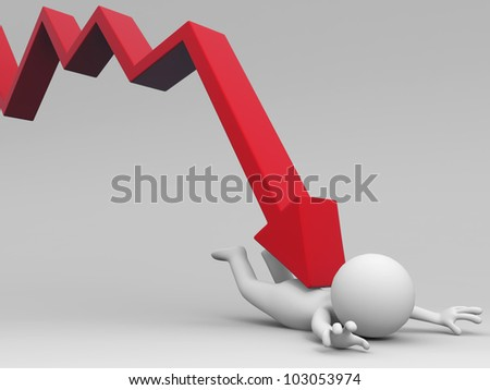 Arrow down/A 3d people is standing in the arrow above - stock photo