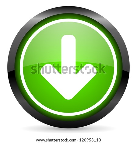 arrow down green glossy icon on white background - stock photo