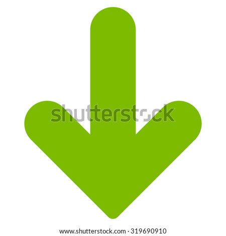 Arrow Down icon from Primitive Set. This isolated flat symbol is drawn with eco green color on a white background, angles are rounded. - stock photo