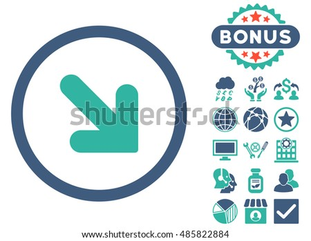 Arrow Down Right icon with bonus elements. Glyph illustration style is flat iconic bicolor symbols, cobalt and cyan colors, white background.