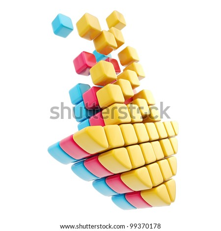 Arrow download symbol made of colorful cmyk glossy cubes isolated on white - stock photo