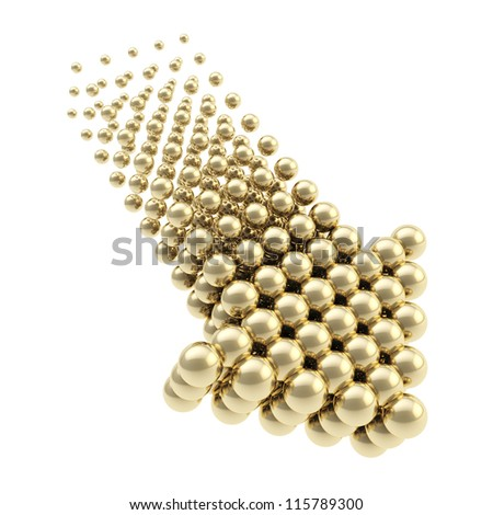 Arrow emblem glossy golden icon as upload, download or direction sign, made of spheres isolated on white background - stock photo