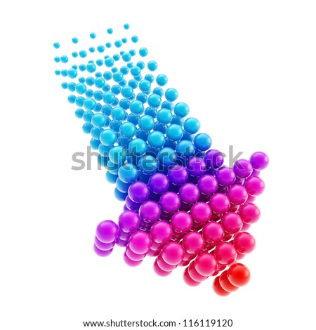 Arrow emblem violet blue glossy icon as upload, download or direction sign, made of spheres isolated on white background - stock photo