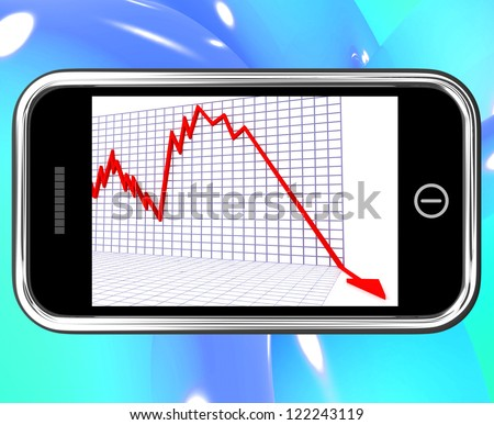 Arrow Falling On Smartphone Shows Risky Investments Or Financial Troubles