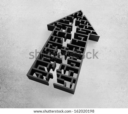 arrow form labyrinth, complex problem solving concept - stock photo