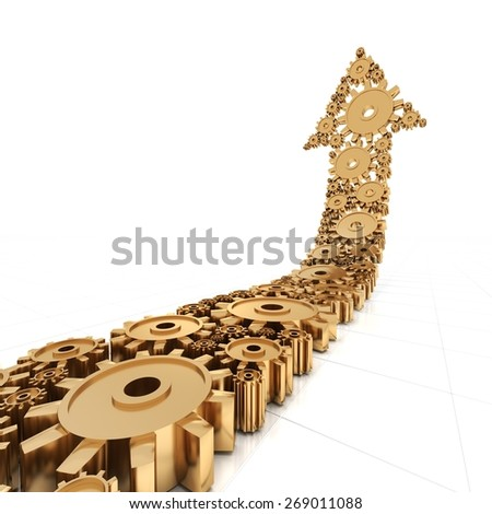Arrow formed by golden metallic gears, 3d render, white background - stock photo