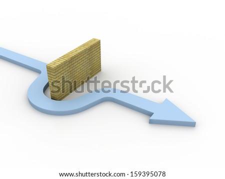 Arrow go around the barrier - stock photo