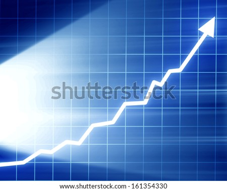 arrow graph going up on a dark blue background - stock photo