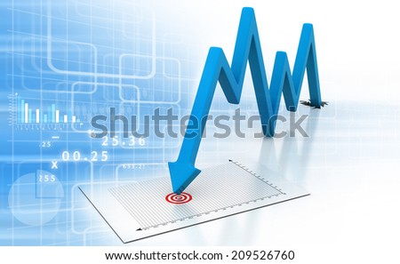 Arrow Graph showing business decline - stock photo