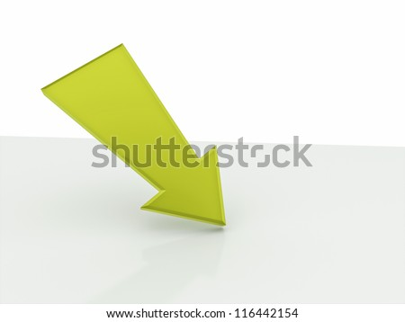 Arrow green selected place - stock photo