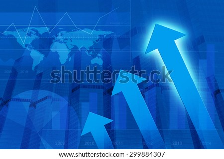 Arrow head with Financial chart and tower, success global concept, Elements of this image furnished by NASA