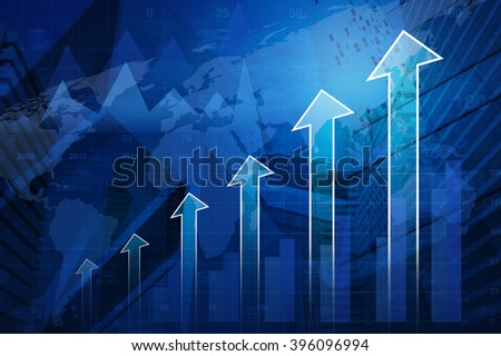 Arrow head with financial graph and map on city background, Success business concept, Elements of this image furnished by NASA