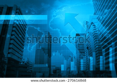 Arrow head with Financial graph and world map  on city background, Elements of this image furnished by NASA - stock photo
