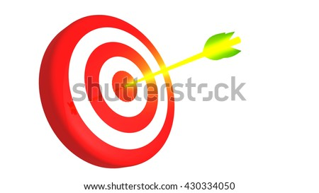 Arrow hit target in the bullseye, 3D illustration - stock photo