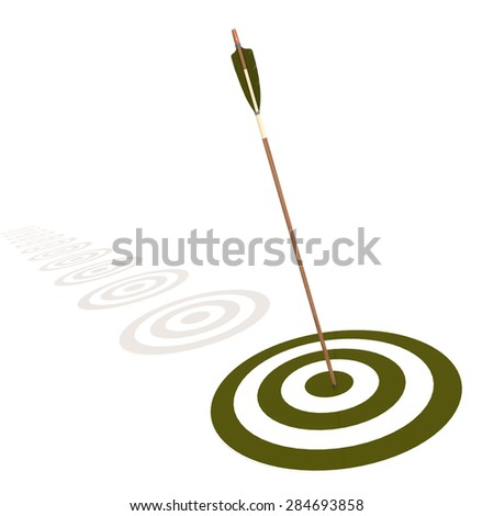 Arrow hitting the center of a green target image with hi-res rendered artwork that could be used for any graphic design. - stock photo