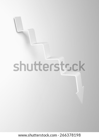 Arrow in shape of stairway going down, 3d illustration - stock photo