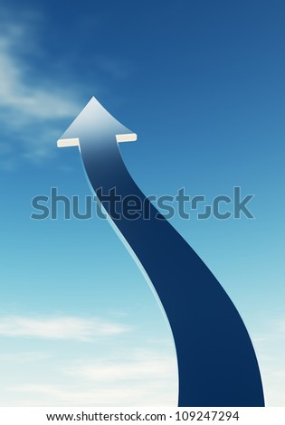 Arrow in the sky. It symbolizes the aspiration, growth, and achievement. - stock photo