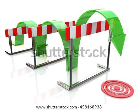 Arrow jumping over hurdles in the design of access to information relating to the business and its goals. 3d illustration - stock photo