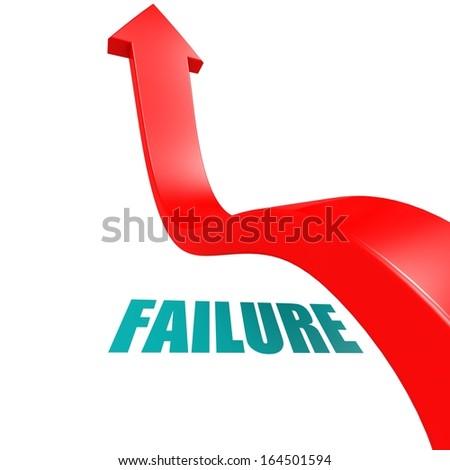 Arrow leap over failure - stock photo