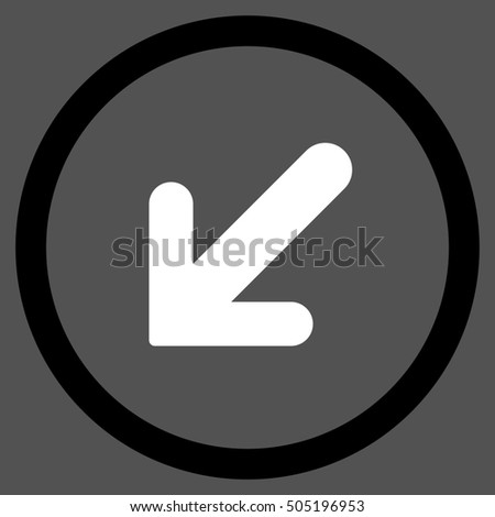Arrow Left-Down glyph bicolor rounded icon. Image style is a flat icon symbol inside a circle, black and white colors, gray background.