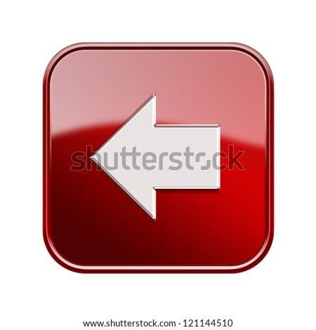 Arrow left icon glossy red, isolated on white background - stock photo