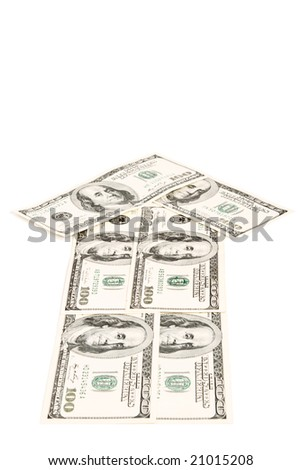 Arrow made of dollars isolated on white