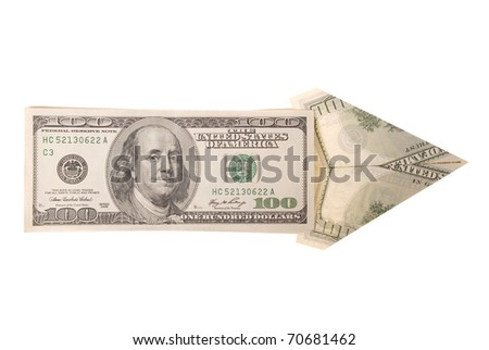 Arrow made of dollars on white background