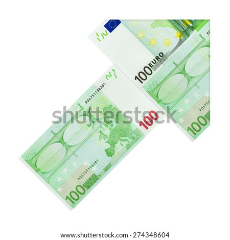 Arrow made of money euro isolated on white background