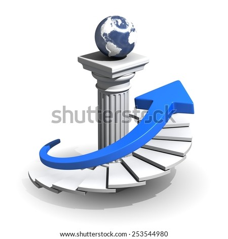 Arrow Moving Upstairs Business Concept - stock photo