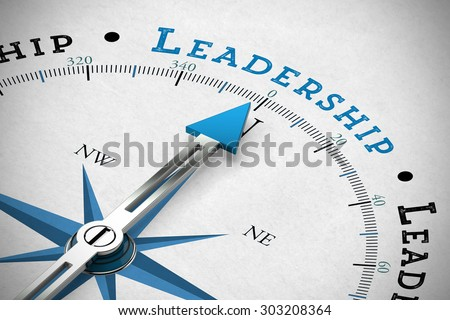 Arrow of a  compass pointing to the word Leadership (3D Rendering) - stock photo