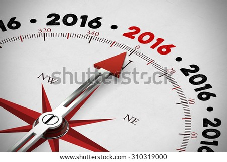 Arrow of a red compass pointing to new year 2016 (3D Rendering) - stock photo