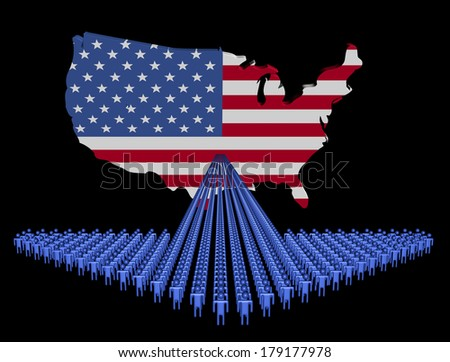 Arrow of people with USA map flag illustration
