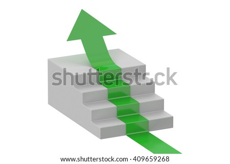 arrow on a staircase, leader concept. 3D rendering - stock photo