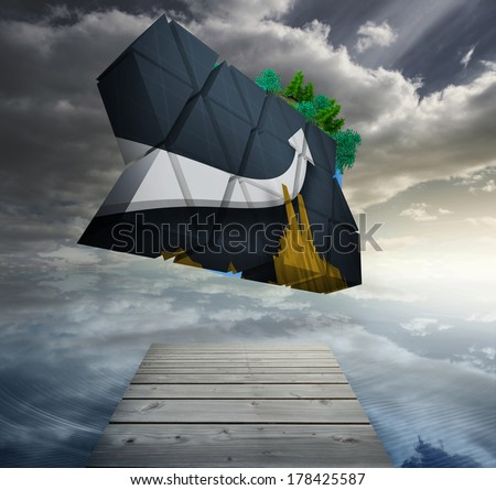 Arrow on abstract screen against digitally generated earth floating in air