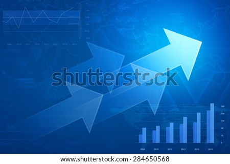 Arrow on financial graph and chart, success business concept, Elements of this image furnished by NASA - stock photo