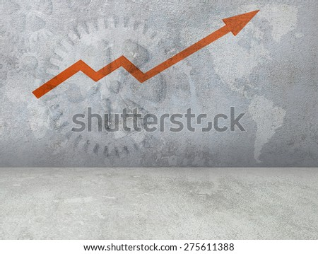 Arrow on grunge textured concrete. World map in the background.  - stock photo
