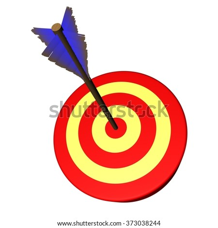 Arrow on target, isolated over white, 3d render