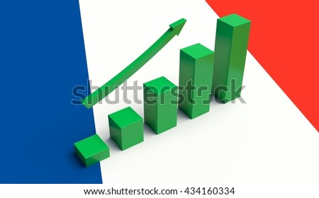Arrow pointing up on a Flag of France. 3D illustration